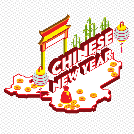 illustration of info graphic chinese background concept in isometric 3d graphic Illustration