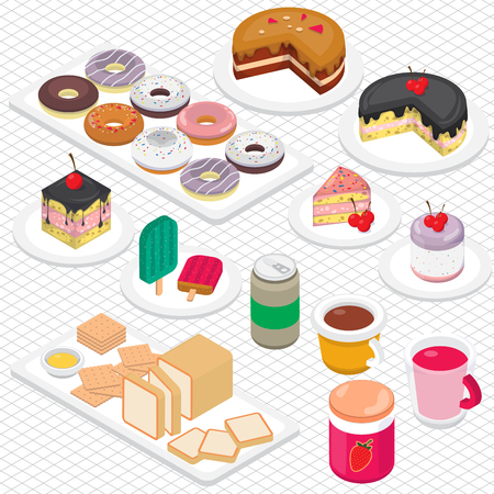 illustration of info graphic dessert concept in isometric 3d graphic
