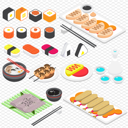 illustration of info graphic japanese food concept in isometric 3d graphic