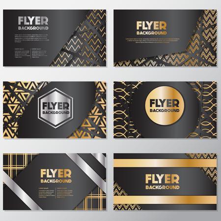 Gold banner background flyer style Design Template,Vector Illustration