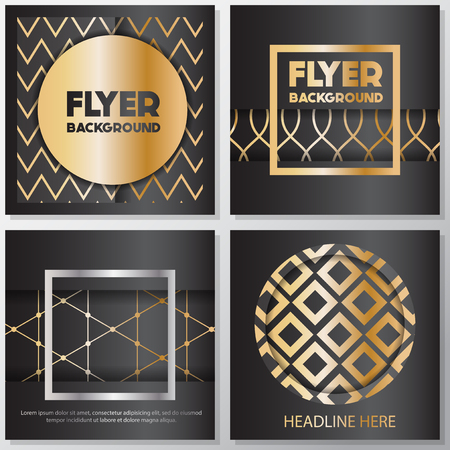 rollup: Gold banner background flyer style Design Template,Vector Illustration