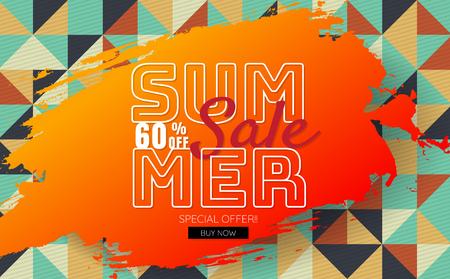 summer sale template banner Vector background for banner, poster, flyer