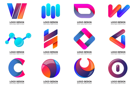 Modern Minimal Vector Logo for banner, poster, flyer. Vectores