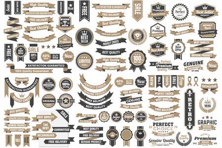 Vintage retro vector icon set for banner, poster, flyer.  イラスト・ベクター素材