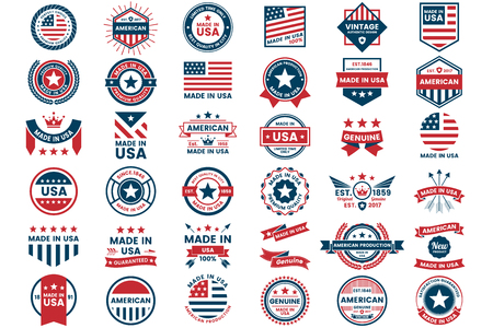 America Vector label for banner, poster, flyer illustration.