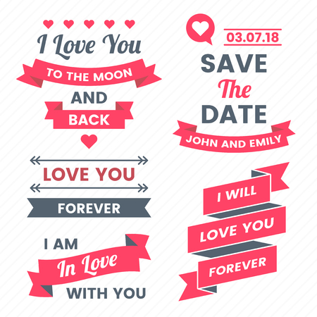 Wedding Retro Vintage Vector Label for banner with heart and banners