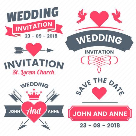 Wedding invitation Retro Vintage Vector Label for banner