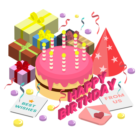 Happy Birthday Vector icon for banner, poster, flyer with cake and gift box Illustration