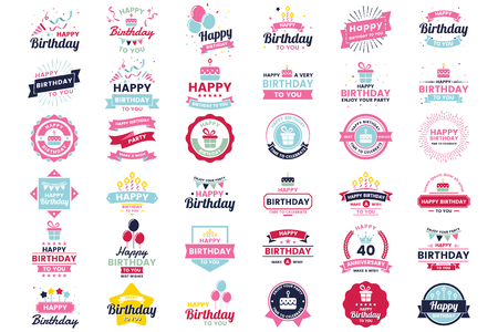 Happy Birthday Vector Logo for banner, poster, flyer