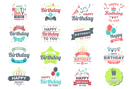 Happy Birthday Vector Logo for banner isolated on plain background.