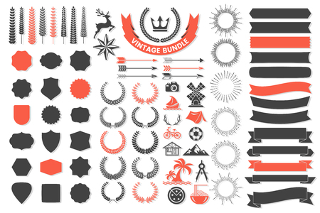 Ribbon Vintage Vector icon template