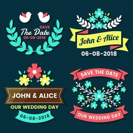 Wedding Retro Vintage Vector Label for banner Vector Illustration