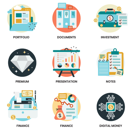 Iconos de negocios para negocios, marketing, administración