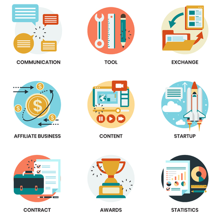 Icone di affari impostate per affari, marketing, gestione