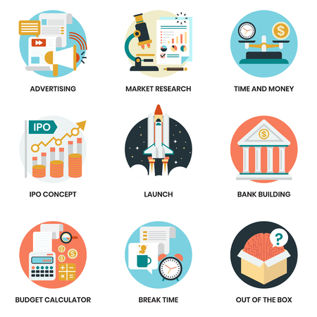 Business icons set for business, marketing, management Vector Illustratie
