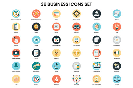 Business icons set for business, marketing, management Vektorové ilustrace