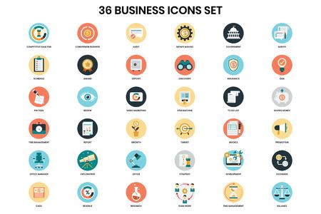Icônes d'affaires définies pour les affaires, le marketing, la gestion Vecteurs