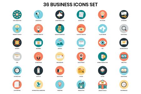 Bedrijfspictogrammen voor zaken, marketing, management