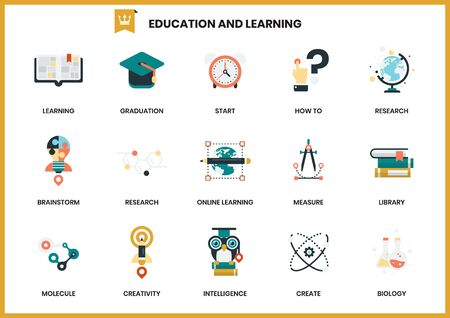 education icons set for business, marketing, management