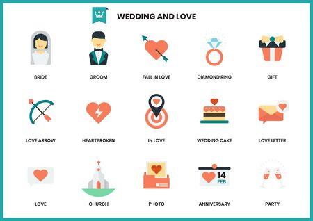 Wedding icons set for business, marketing, management