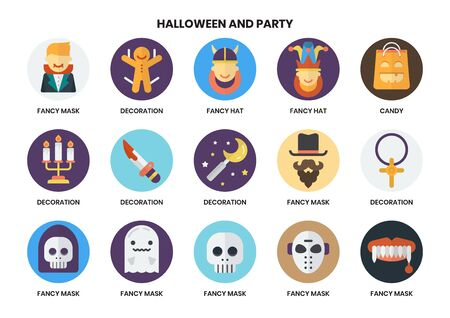 Party icons set for business, marketing, management