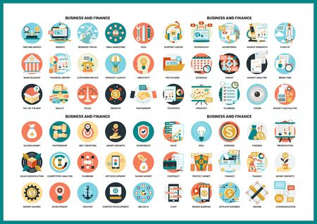 Business icons set for business, marketing, management Vettoriali