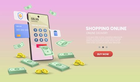 Shopping Online on Mobile Application Concept Digital vector.3d vector illustration,Hero image for website