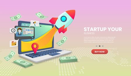 Startup vector concept on laptop delivery service on Website or Mobile Application Vector Concept Marketing and Digital marketing,Hero image for website Vettoriali