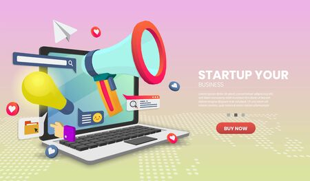 Startup vector concept  for banner and website. Perspective landing page template. Online bank payment or customer support. Vector illustration. Vettoriali