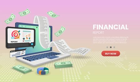 Financial report Vector concept.For web banner, infographics, hero images. Hero image for website. vector illustration.