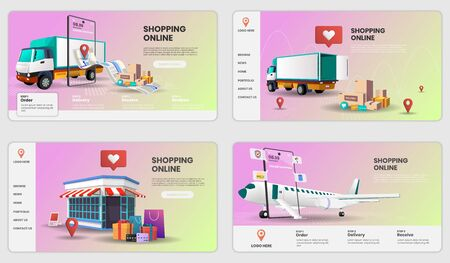 Shopping Online on Mobile Application with truck and plane Concept Digital vector.3d vector illustration,Hero image for website