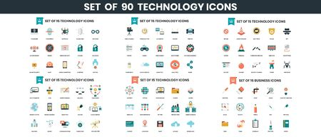 Technology icons set for business, marketing, management
