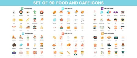 Food and Cafe icons set for business, marketing, management