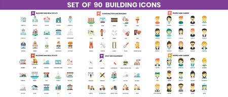 building and construction icons set for business, marketing, management