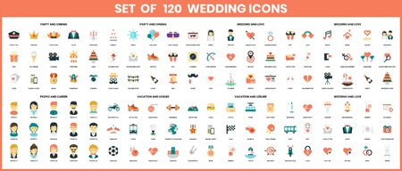 wedding icons set for business, marketing, management