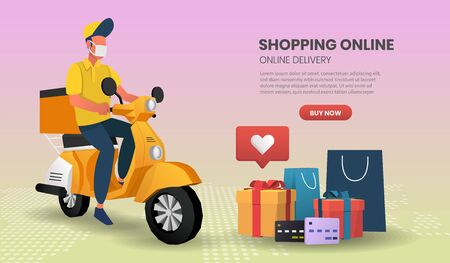 Online Shopping templates service for food and package online shopping delivery service with motorcycle. 3d vector illustration,Hero image for website