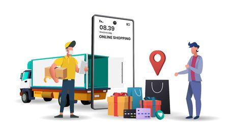 Online delivery service concept with Truck delivery, online order tracking, delivery home and office.3d vector illustration,Hero image for website