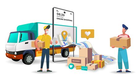 Truck delivery service for food and package online shopping delivery service. 3d vector illustration,Hero image for website Vettoriali