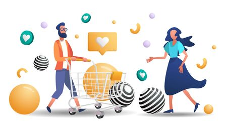 online shopping with Cart Vector for banner, poster, flyer