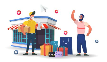 Shopping Online on Website or Mobile Application Vector with shop retail Concept Marketing and Digital marketing,3d vector illustration. Vettoriali