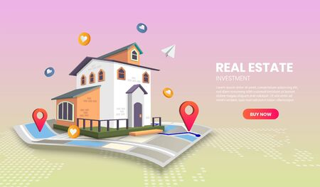 real estate landing page templates app page.For web banner, infographics, hero images. Hero image for website. vector illustration. Vettoriali