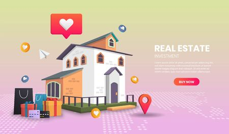 real estate landing page concept, online order tracking, delivery home and office.3d vector illustration,Hero image for website