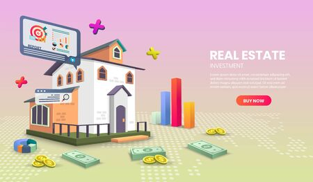 real estate landing page for Website or Mobile Application Vector with money vector Concept Marketing and Digital marketing,3d vector illustration.