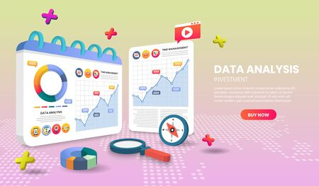 data analysis landing page templates app page.For web banner, infographics, hero images. Hero image for website. vector illustration.