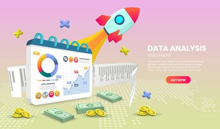 data analysis landing page for Website or Mobile Application Vector with money vector Concept Marketing and Digital marketing,3d vector illustration.