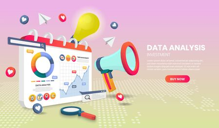 data analysis landing page concept on map vector.suitable for banner application and home page Vettoriali