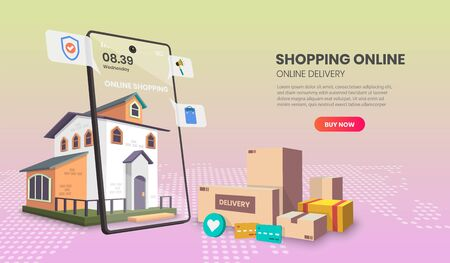 Online Shopping templates app page.For web banner, infographics, hero images. Hero image for website. vector illustration. Vettoriali