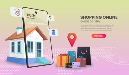 Online delivery service concept, online order tracking, delivery home and office.3d vector illustration,Hero image for website