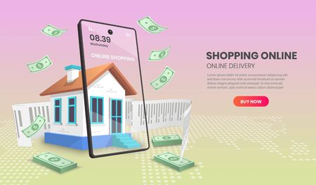 shopping online with shop retail vector. online store smartphone concept suitable for banner application and home page