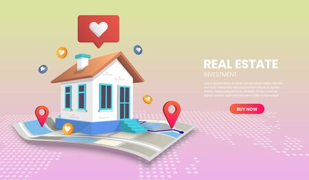 real estate landing page concept on map vector.suitable for banner application and home page Vettoriali